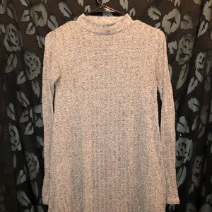 long sleeve grey mock turtleneck dress